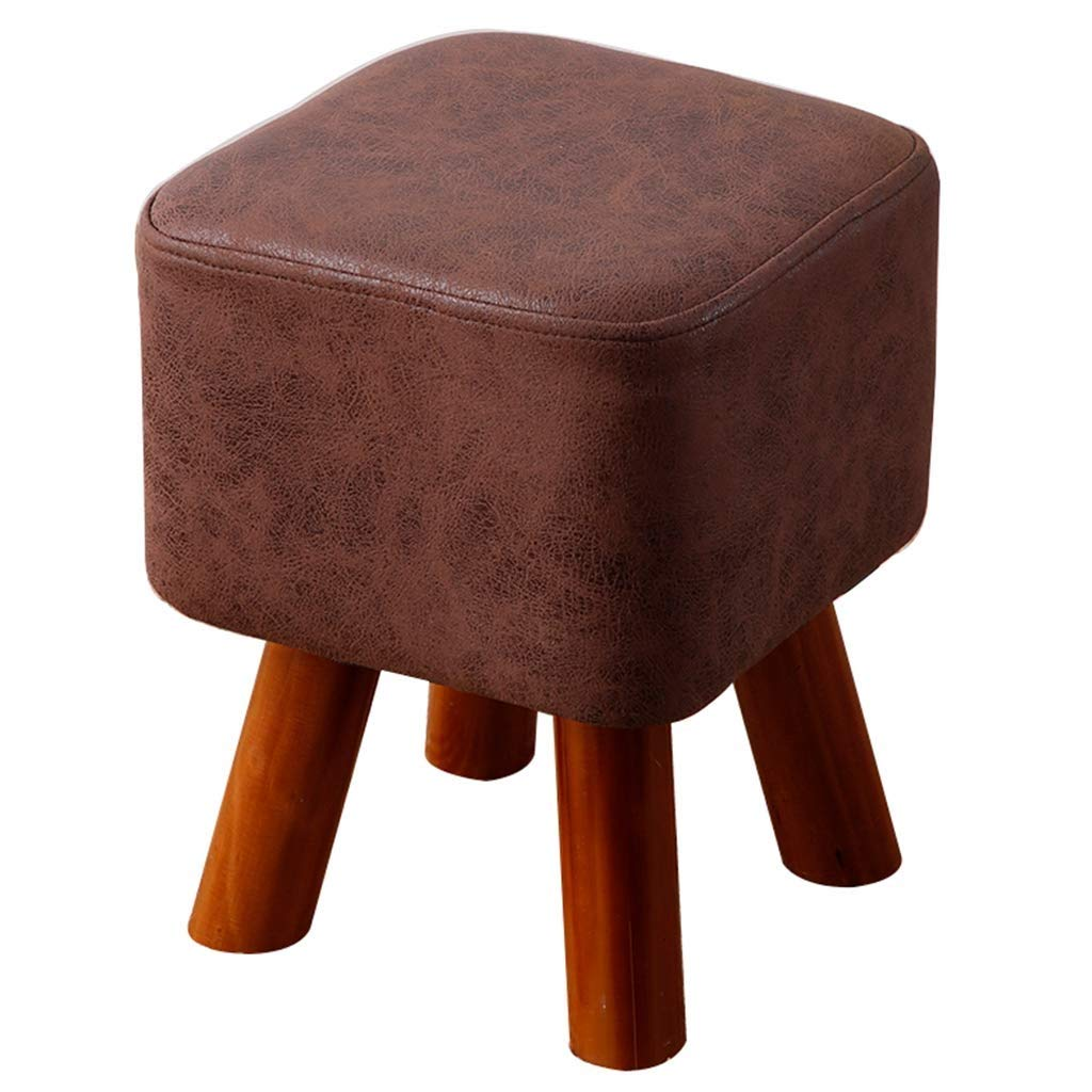 DHINGM Home Creative Living Room Sofa Bench, Small Stool, Wood and High-end Fabric, Beautiful, Stable, Durable, Non-Slip Design at The Bottom, Safer and Easier to Clean (Color : Brown) by DHINGM