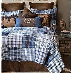 Black Forest Decor Cowboy Denim Plaid Bed Set - King