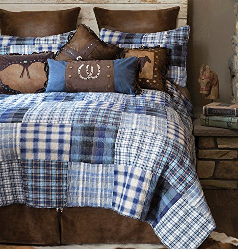 Black Forest Decor Cowboy Denim Plaid Bed Set - King