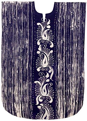 taglia LEELA caftano vernice blu lungo 100 O806 vestito mano grossa donne LA navy chimono cotone di 0qaad