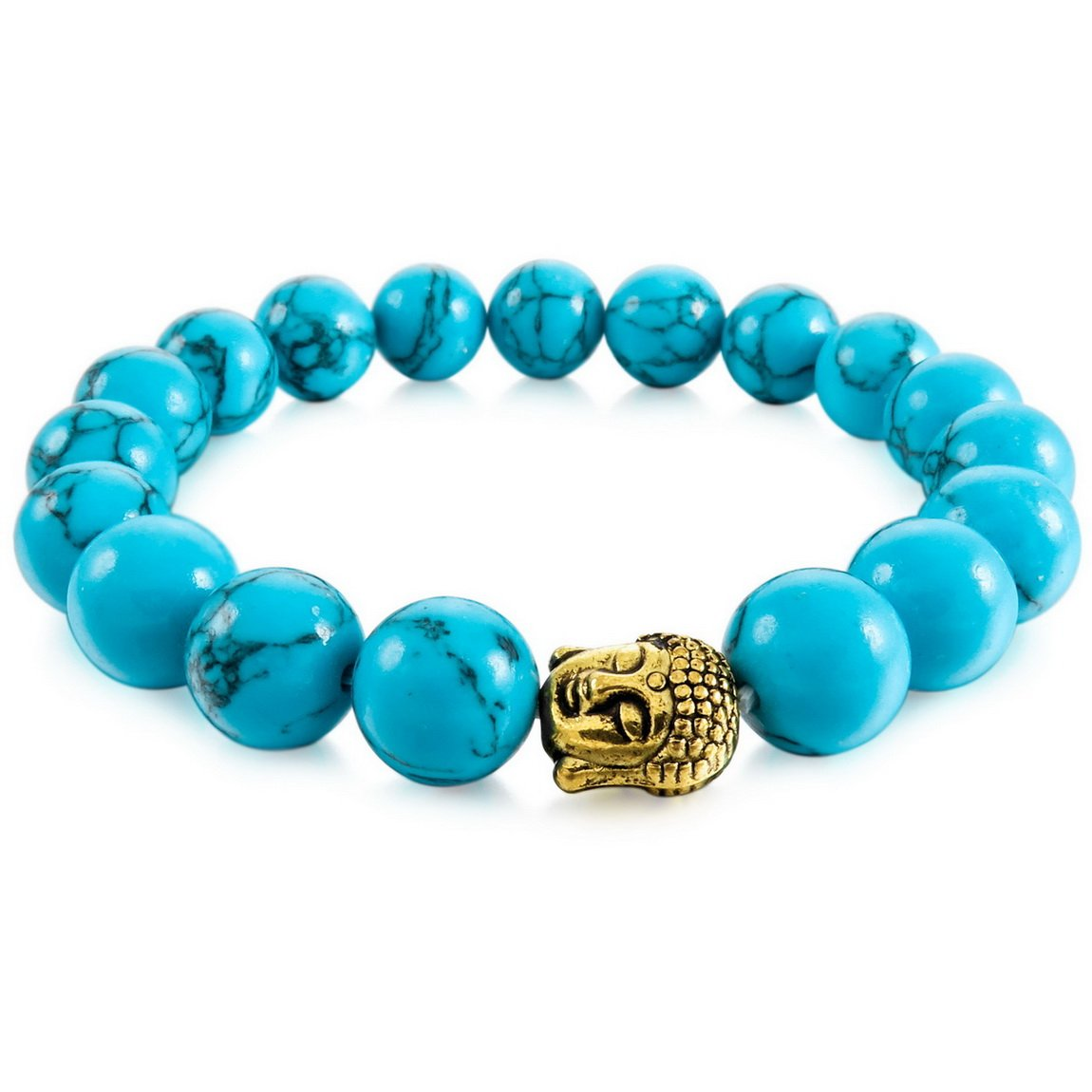 INBLUE Men,Women's 10mm Alloy Energy Bracelet Link Wrist Simulated Turquoise Blue Buddha Mala Bead Elastic