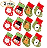 Cute Christmas Mini Stocking 6-1/4'' Great Gift Xmas Party Favors Supplies Decorative Little Treats Santa 3D Rustic Stockings Goodies Bags Stuff Silverware/Utensils Holders 12 Pack
