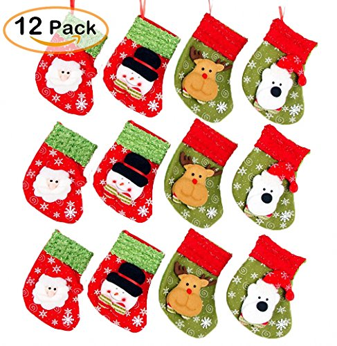 Cute Christmas Mini Stocking 6-1/4'' Great Gift Xmas Party Favors Supplies Decorative Little Treats Santa 3D Rustic Stockings Goodies Bags Stuff Silverware/Utensils Holders 12 Pack by JoyLionKay (Image #1)
