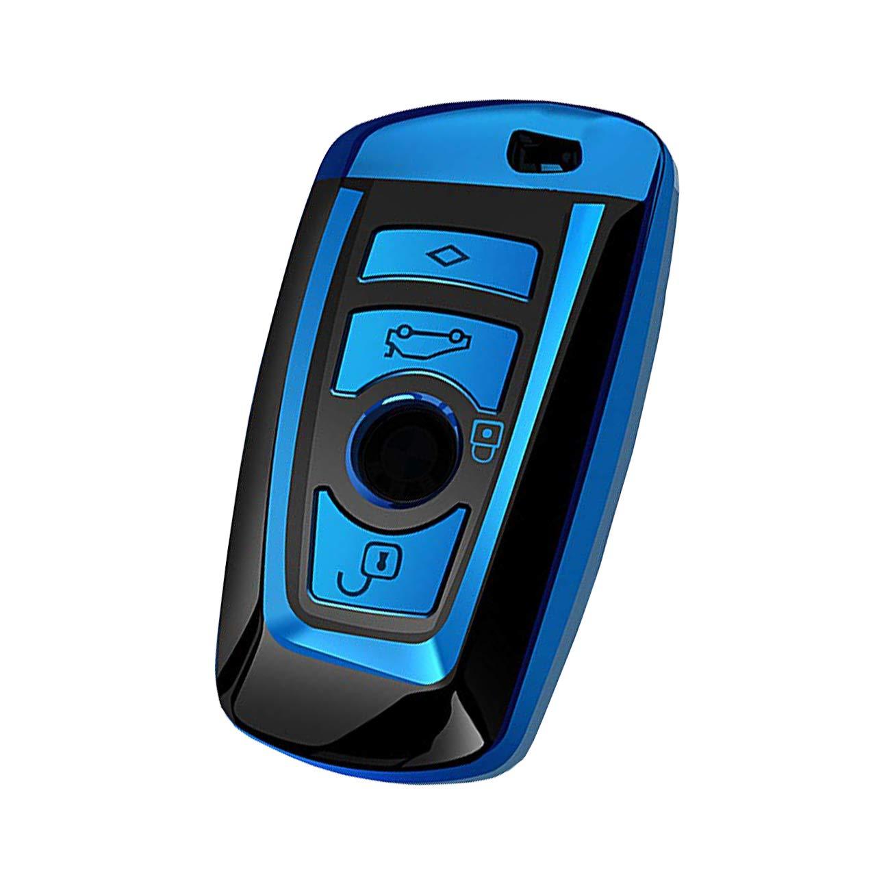 azul Estuche blando de TPU para la llave del coche Funda de la llave Compatible con BMW 1 3 4 5 6 7 Serie Shell