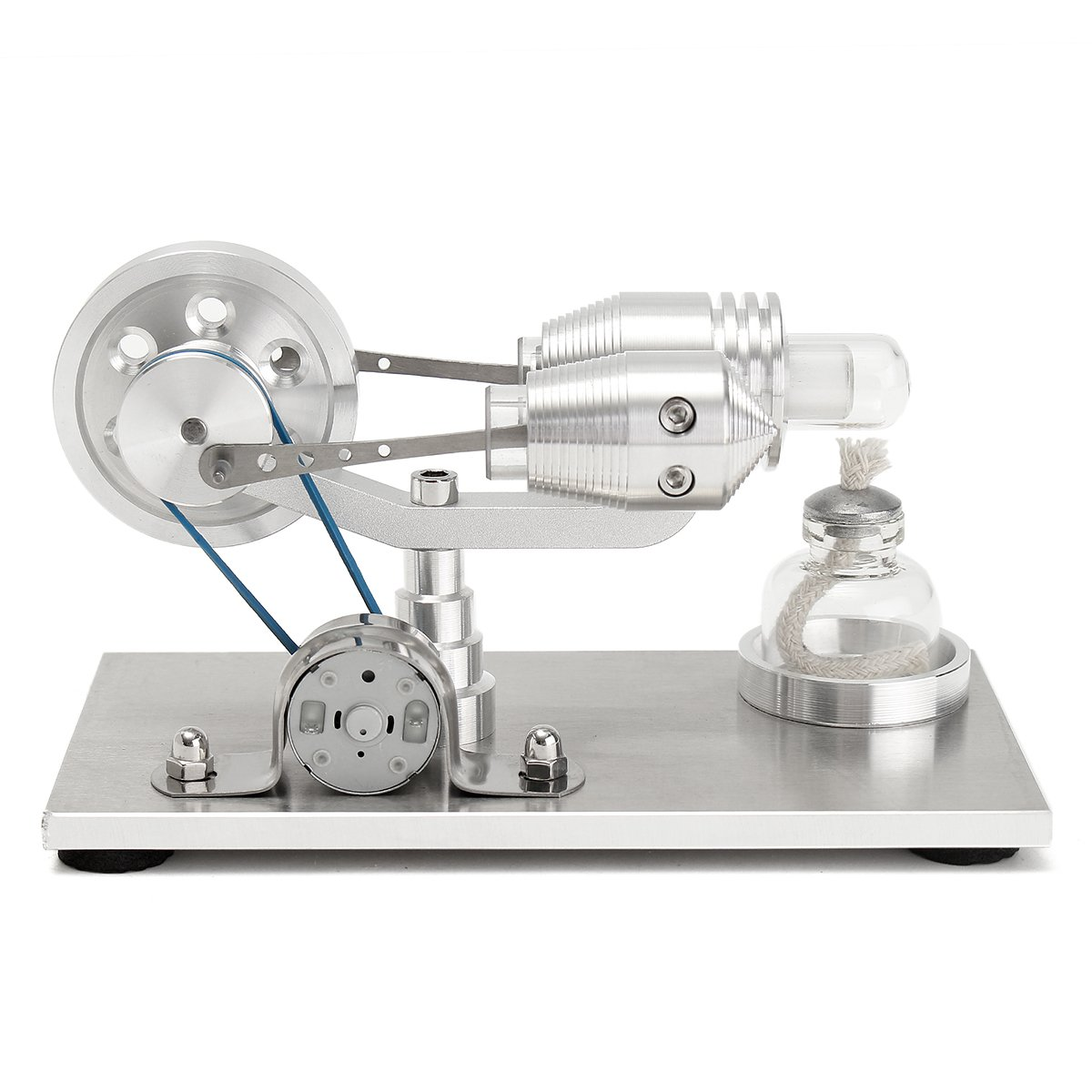 HITSAN Stainless Steel Mini Hot Air Stirling Engine Motor Model Educational Toy Kits One Piece