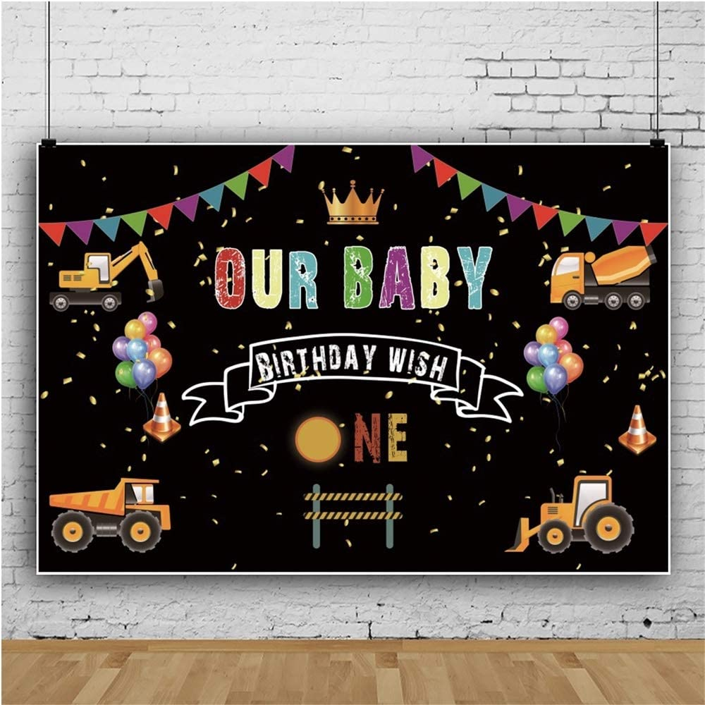 Yeele 1st Baby Birthday Backdrop 10x6.5ft Kids Party Photography Background Boys Girls Portraits Construction Cars Background Party Decoration Preschool Event Photo Booth Studio Props