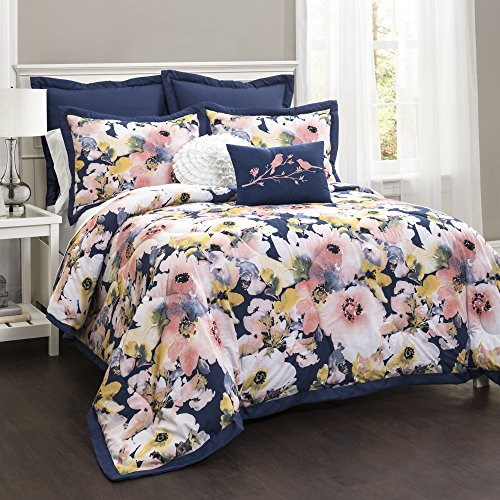 Lush Decor Lush Décor Floral Watercolor 7 Piece Comforter Set, King, Blue (Bedding Navy Blush And)