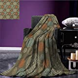 Oriental summer blanket Arabian Boho Circular Motifs with Flowers and Swirls Earth Tones Moroccan Image Flannel Multicolor size:59''x35.5''