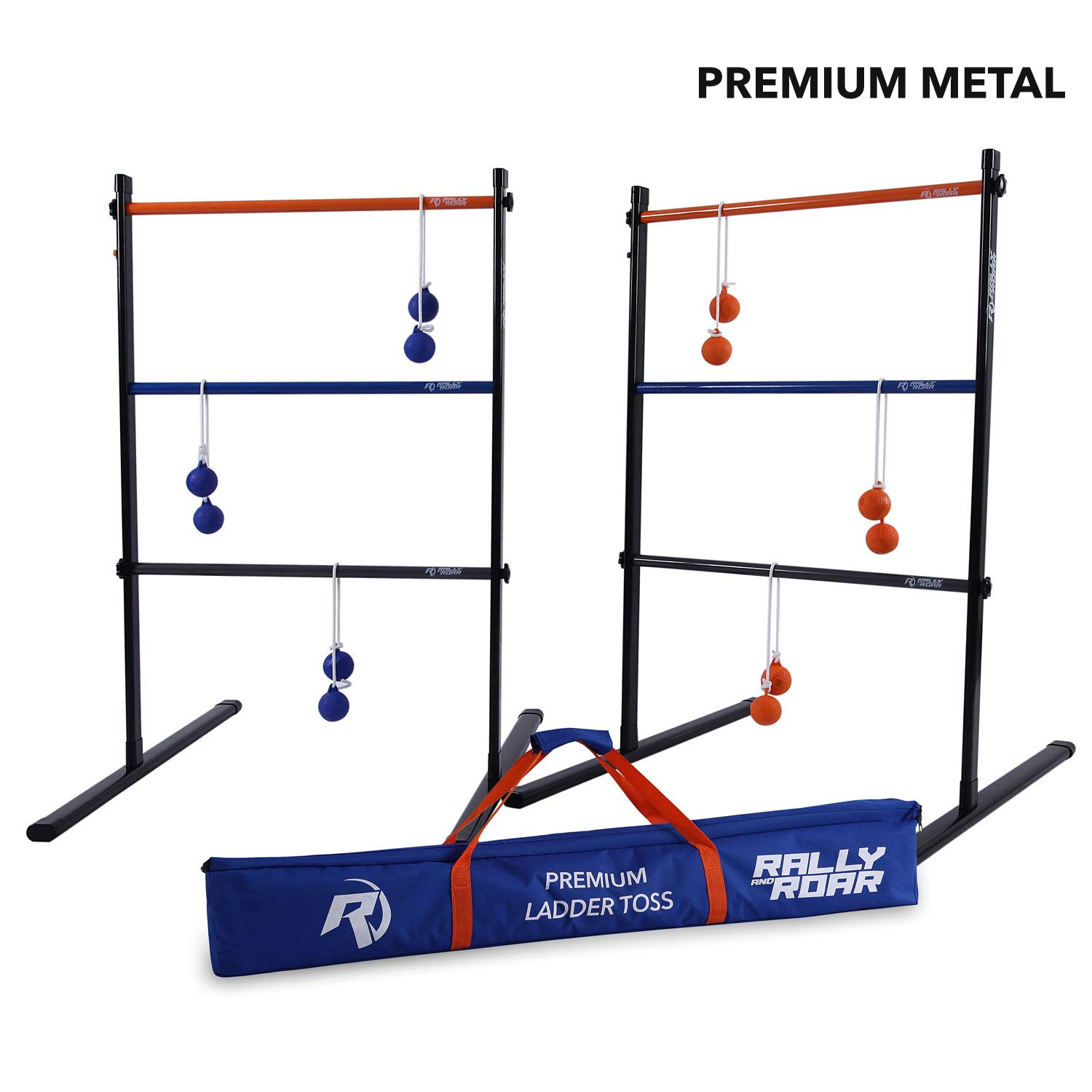 Rally and Roar Metal Ladder Toss Game Set with 2 Targets, 6 Rubber Bolas, Zippered Carrying Case - Premium, Portable Ladder Golf Kit for Families and Adults - Unique Outdoor Lawn Yard Games by Rally and Roar