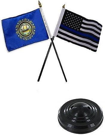 """New Hampshire State Flag 4/""""x6/"""" Desk Set Table Stick Black Base"""