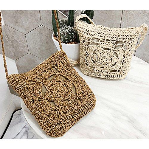 Bag Straw Crochet Hollow Shoulder Bow Summer Abuyall Handbag Pt6 Lace Sling Purse Out Beach Cute Straw Women xTfB5qwE