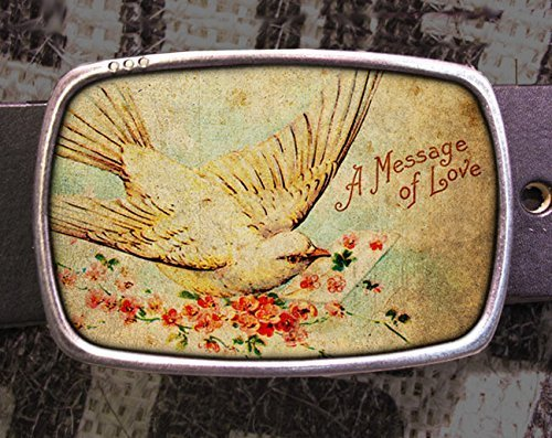 Vintage Love Bird Postcard Buckle 701
