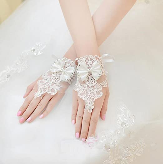 Peach Beaded Fingerless Gloves