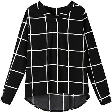 Siswong Blusas Anchas Mujer Manga Larga Elegantes Cuadros Negro Blanco Asimetricas Juveniles Universitario Ocio Primavera 2018 (M=Busto:39.4