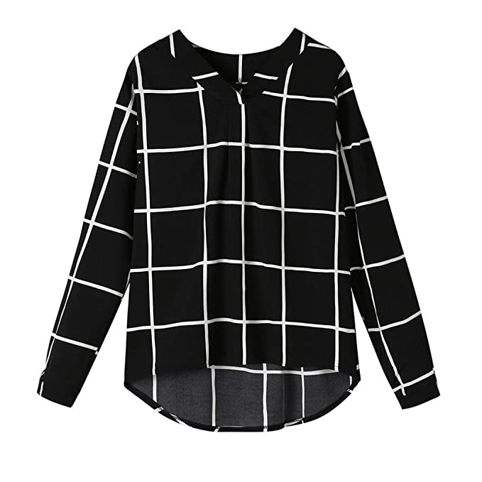 Siswong Blusas Anchas Mujer Manga Larga Elegantes Cuadros Negro Blanco Asimetricas Juveniles Universitario Ocio Primavera 2018
