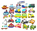Wolpark 26pcs Different Large Transportation Shoe Decoration Charms for Crocs & Bracelet Wristband for Kids Boys Girls Gifts Party