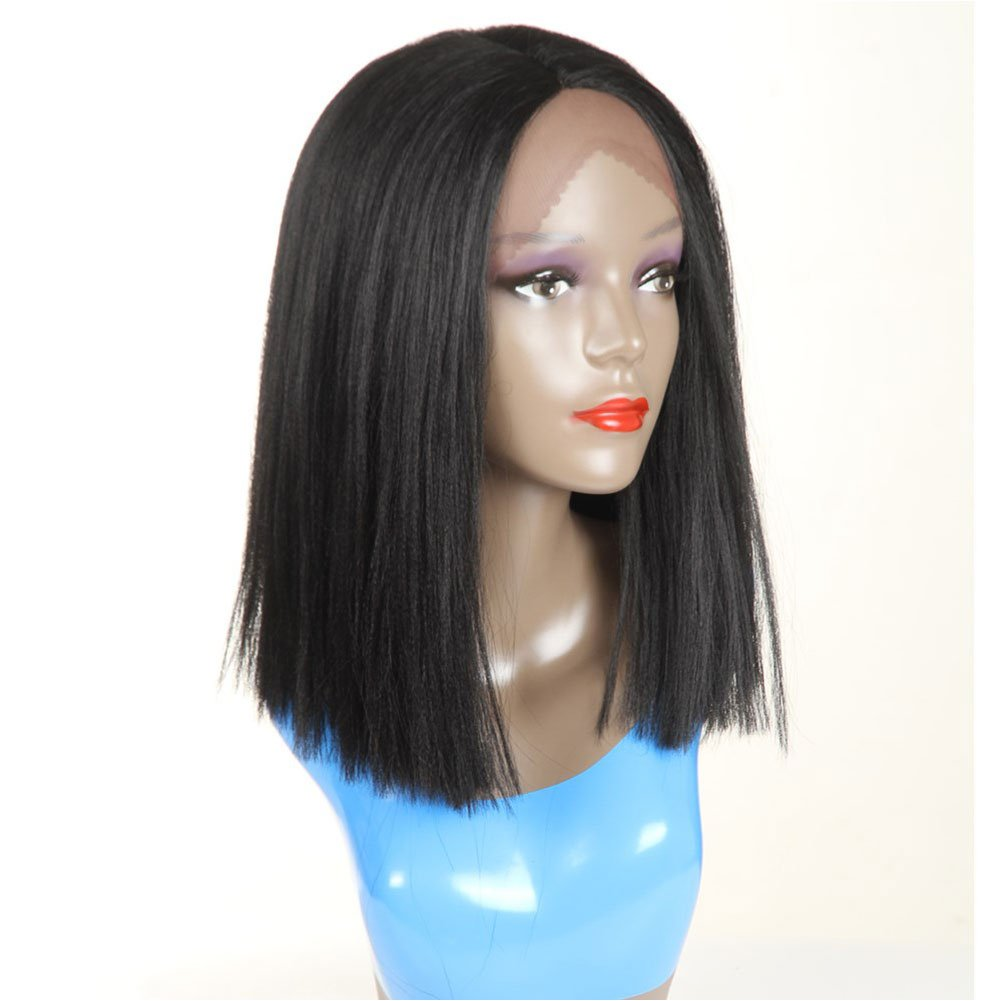 Short Bob Synthetic Lace Front Wigs for Women L Part Black Color Yaki Straight Heat Resistant Fiber Black Hair Wig (1B) by HUA (Image #3)
