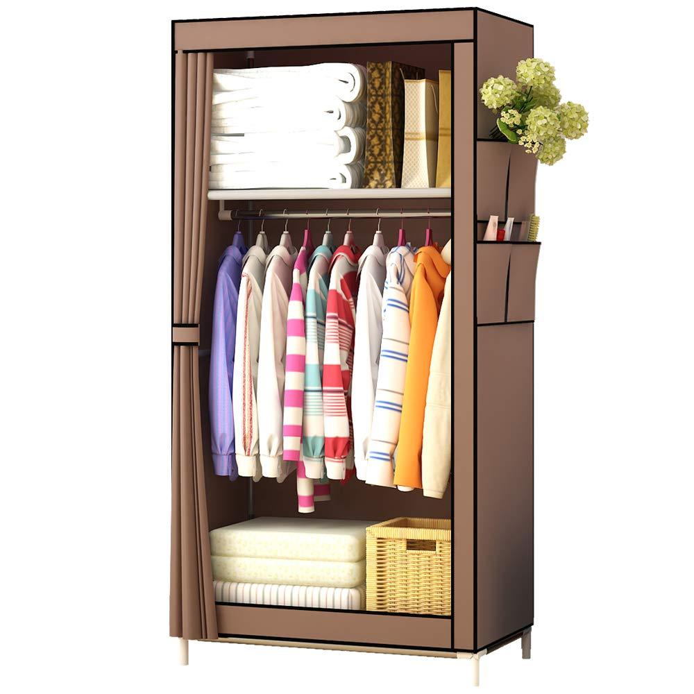 UDEAR Canvas Wardrobe Portable Free Standing Small Clothes Storage Organizer(Brown)
