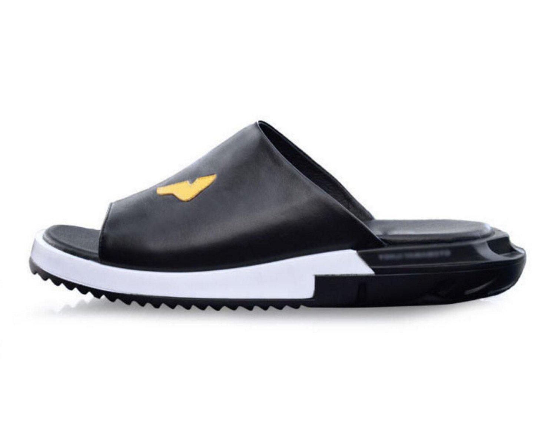 MSM4 Sandalias De Cuero De Los Hombres De Moda Zapatillas Con Punta Abierta Transpirable Baño Usable Salida A La Playa Barbacoa Negro Blanco Rojo,Black-UK5~5.5(38EUR) UK5~5.5(38EUR)|Black