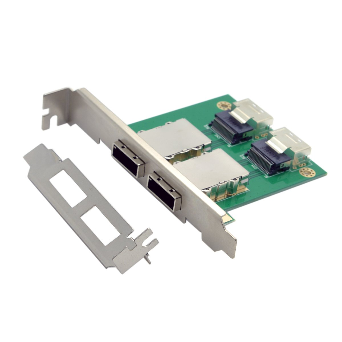 JSER Dual Ports Mini SAS SFF-8088 To SAS 36Pin SFF-8087 PCBA Female Adapter With PCI Bracket