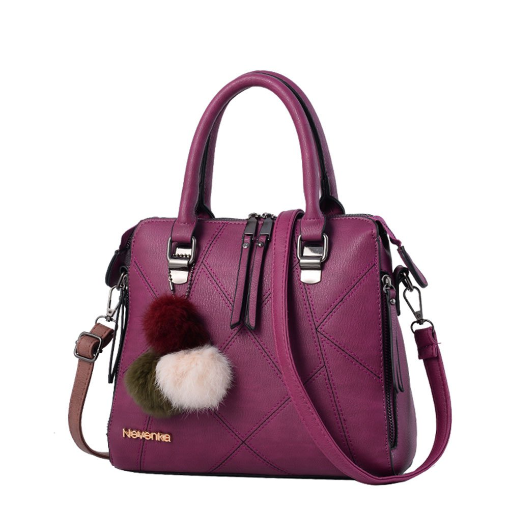 Nevenka Women Bags Handbag Shoulder Bags PU Leather Zipper Bags Casual Crossbody Purse Totes (PURPLE)