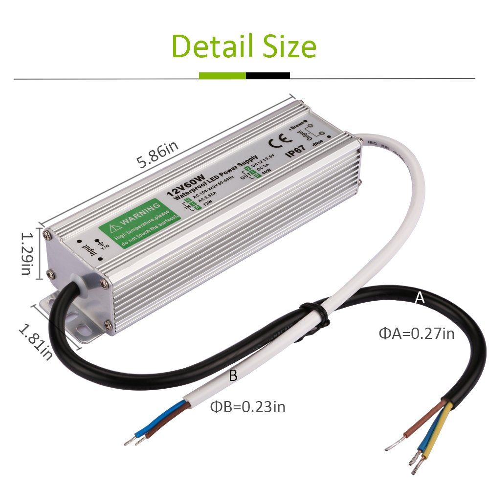 Waterproof 60w Led Transformer Ip67 Power Supply Driver Wiring 12 Volt Ac To Dc Adapter Output