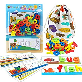 KMUYSL Matching Letter Game, Spelling Letter Words for Kids - Shape & Color Recognition Game - Top Educational Learning Toys for Preschool Kindergarten, 3 Years & Up