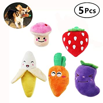 Kui Ji Juguetes para Perros Pequeños Squeaky, Frutas y Verduras, Peluche, Cachorro,