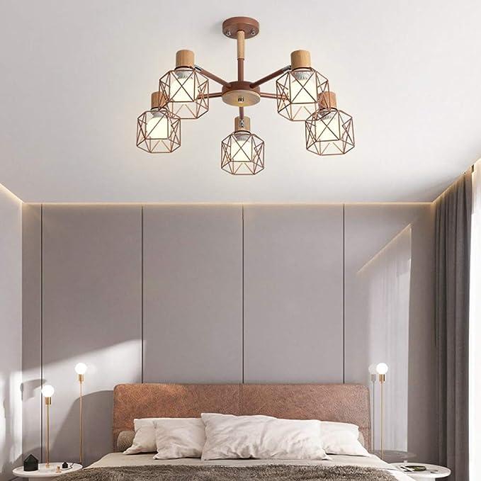 Estudio simple lámpara led comedor dormitorio lámpara 5 oro rosa ...