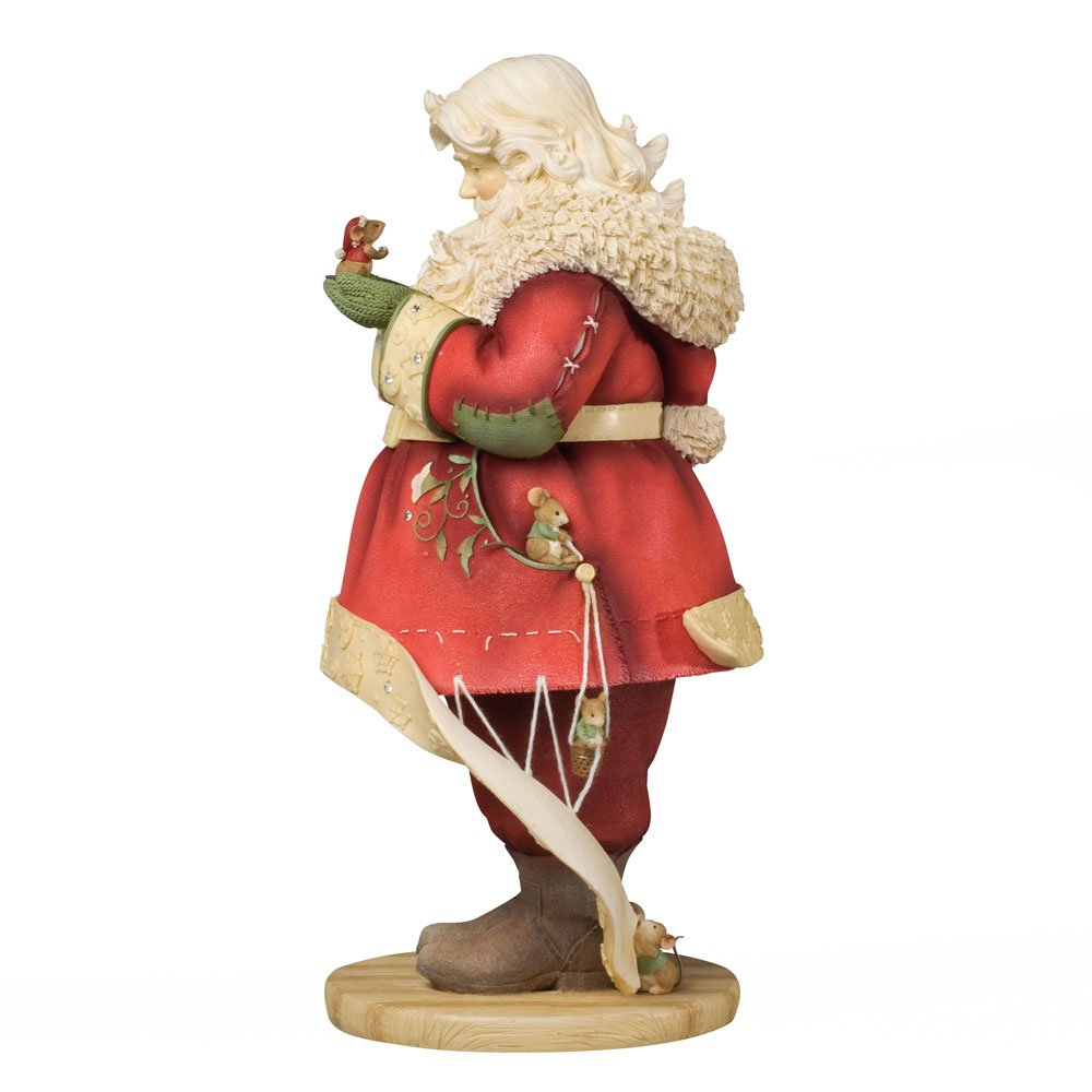 enesco heart of christmas santa with mice tailoring coat figurine