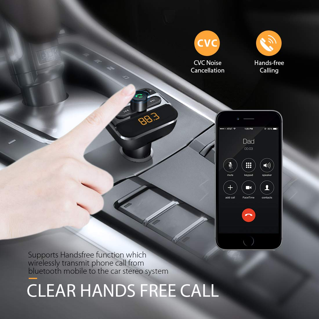 PERBEAT Bluetooth Transmisor FM Manos Libres Coche Radio Musica Receptor AltavozReproductor de MP3 con 5V//2.4A /& 5V//1A Unidad Flash Cargador USB para Phone Tel/éfono