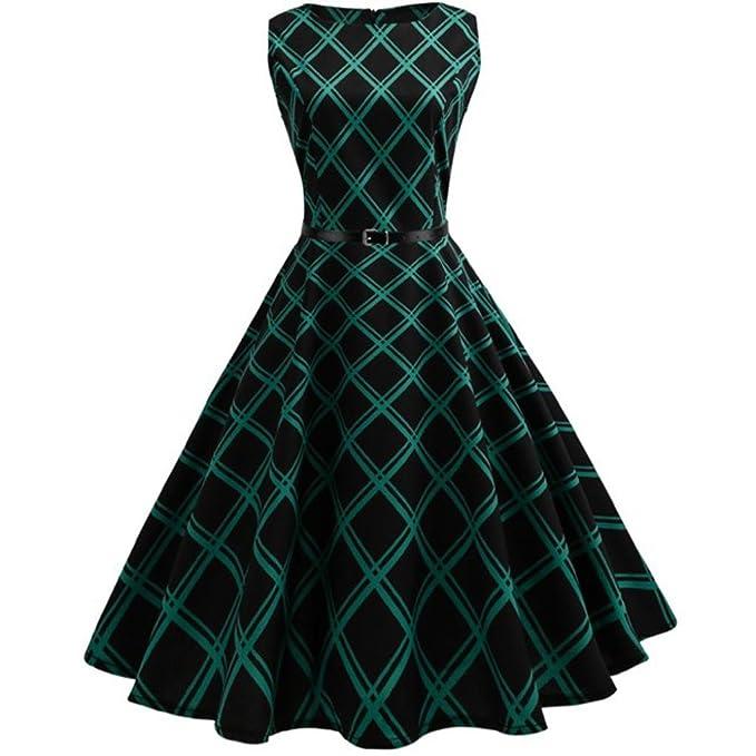 Amazon.com: manxivoo Mujer Vintage impresión floral vestido ...