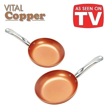 Vital Copper. Juego de 2 sartenes de 22 y 26 cm de cerámica y cobre