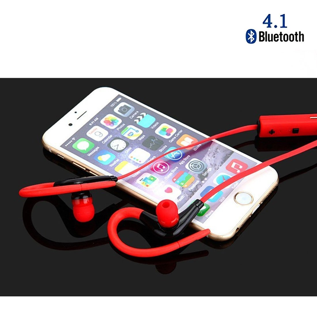 10M Wireless Bluetooth 4.0 Sweatproof Sports Earphone Cancelling Noise ,Toolisi Stereo Bass In-ear Earbuds w/ Microphone Stable Bluetooth Connect Headset 6Hour Working Time for Phones Running Gym -Red