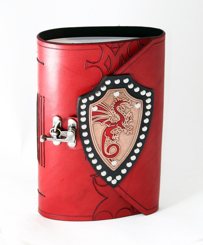 Dragon shield leather bound journal with copper shield and red inlay