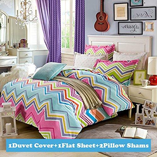 Ttmall Queen Size 100%cotton 4-pieces Rainbow Colorful Chevron Prints Duvet Cover Sets/bed Linens/bedding Sets