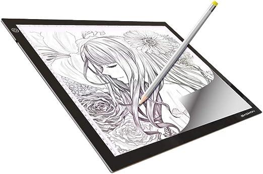 Art Supplies Dibujo de Caja de luz A4/A3, Tablero de Copia LED con Almohadilla de