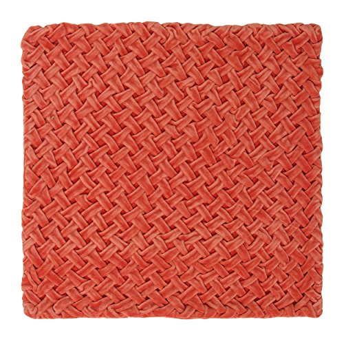 BrandWave Decorative Square Throw Pillow - Rouched Velvet - French Weave Design - Cushion Cover Only - 16x16 Inches - (Rouched Pillow)