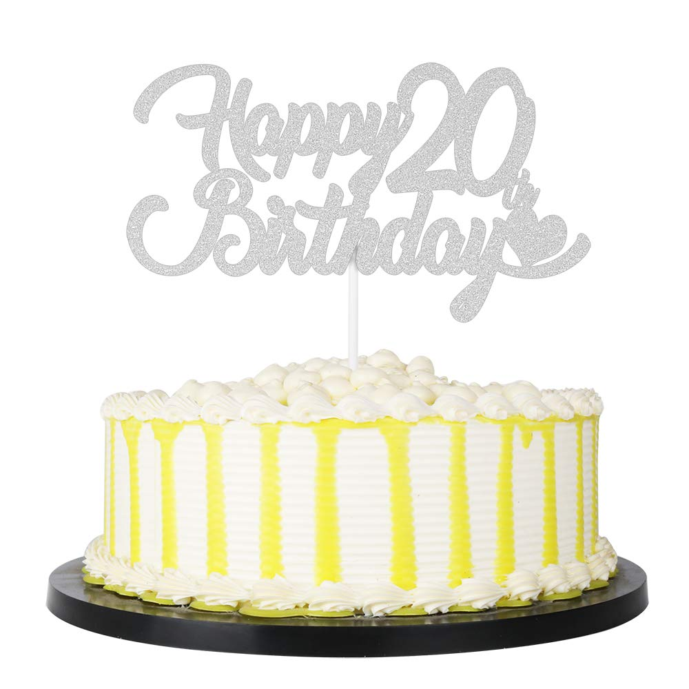 20 Anniversary Cake Topper Party Decoration Supplies PALASASA Silver Single Sided Glitter Happy 20th Birthday