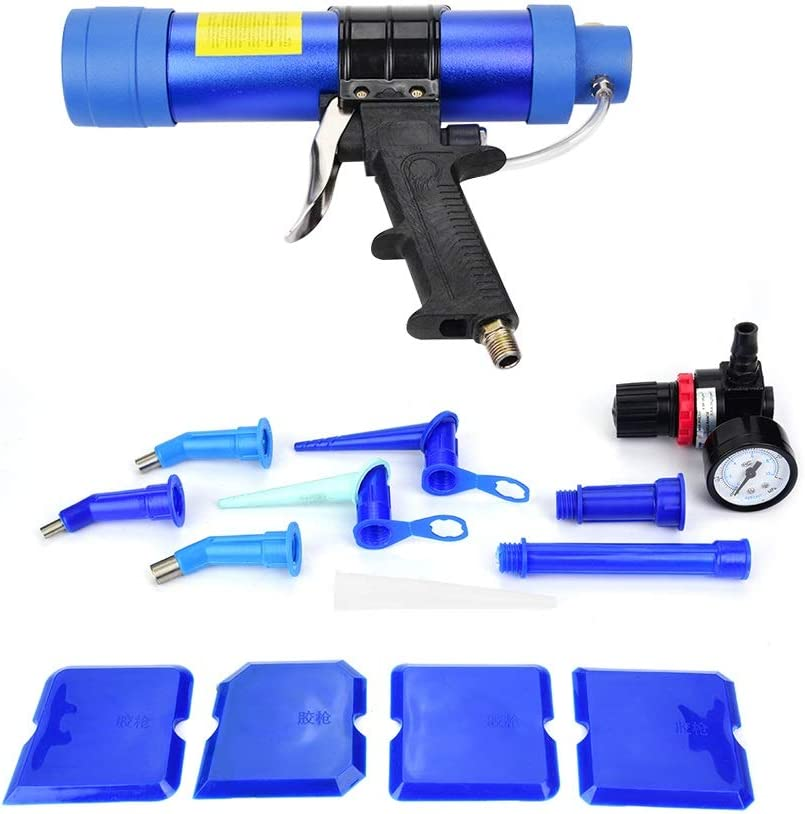 Pistola de sellador de pegamento de vidrio neumática - Pistola de aire de cartucho de sellador de pegamento de sellado de vidrio neumática ajustable 310ML