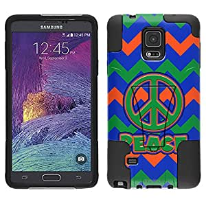 Samsung Galaxy Note 4 Hybrid Case Peace on Chevron Green Orange Blue 2 Piece Style Silicone Case Cover with Stand for Samsung Galaxy Note 4