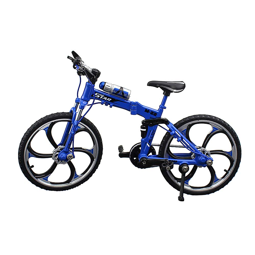 Urchins' Family Alloy Mini Bicycle Toy - Finger Bike for Collections (Folding Mountain Bike Blue)