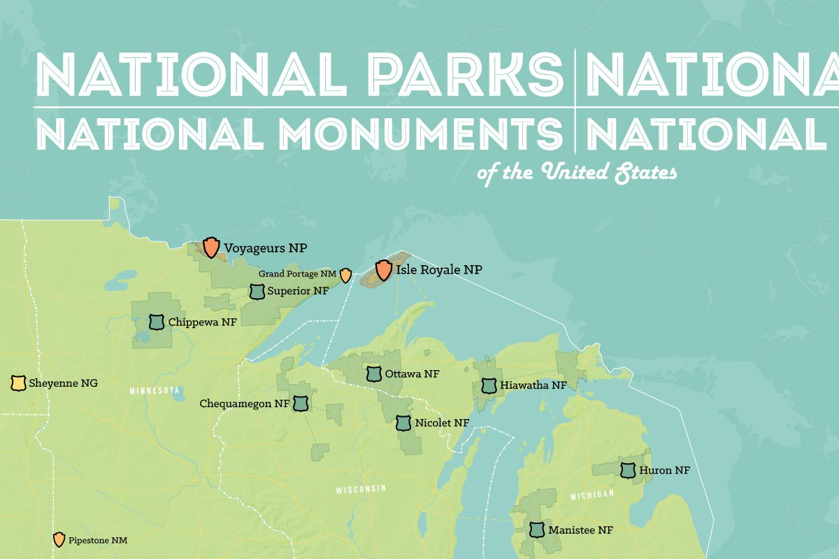 amazoncom us national parks monuments forests map 24x36 poster green aqua posters prints