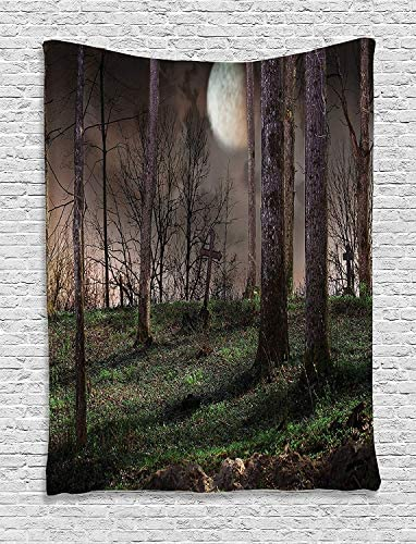 Ambesonne Gothic Tapestry, Dark Night in The Forest with Full Moon Horror Theme Grunge Style Halloween, Wall Hanging for Bedroom Living Room Dorm Decor, 60 X 80 , Yellow Brown