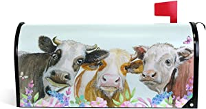 CFAUIRY Mailbox Cover Magnetic Art Cow Painting Mailbox Wraps Letter Box Cover Standard Large Size Garden Yard Home Decor