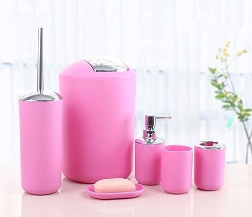 6tlg badset badezimmer zubehr set seifenspender halter wc brste badgarnitur rosa design 2 - Badezimmerzubehor