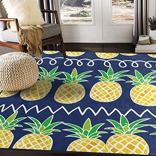 ALAZA Cartoon Pineapple Fruit Summer Retro Area Rug Rugs for Living Room Bedroom 7' x 5'