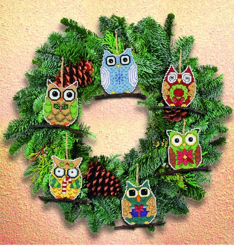 Cross Stitch Christmas Ornament Kits (Janlynn Counted Cross Stitch Kit, Owl Ornaments)