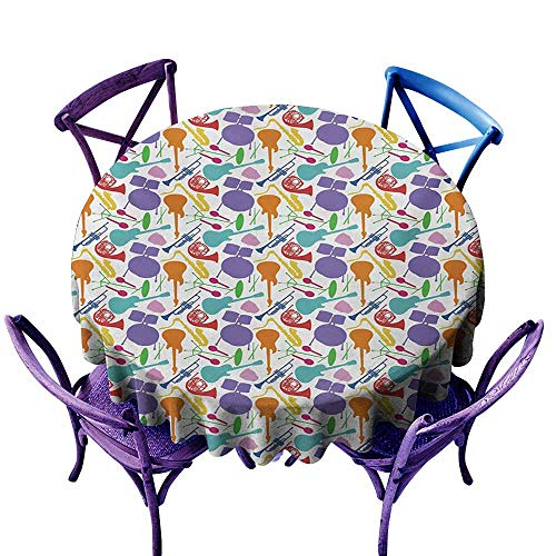 Indoor/Outdoor Round Tablecloth,Music Colorful Instruments Bass Guitar Rock Microphone Trumpet Saxophone Jazz Party Theme,Table Cover for Kitchen Dinning Tabletop Decoratio,40 INCH,Multicolor -