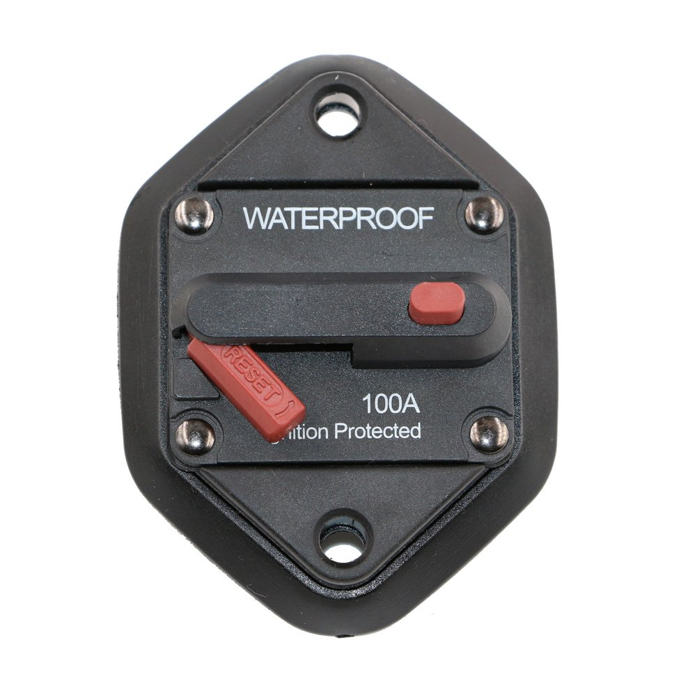 T Tocas Hi-Amp Waterproof 100A Circuit Breaker with Manual Reset, 12V- 48VDC (Panel Mount-100A)